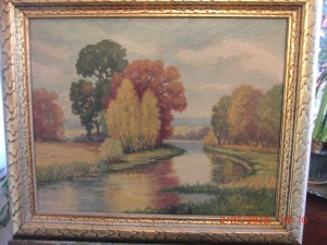 River landscape painted by Marion Rosendahl, granddaughter of Hubert Lewis