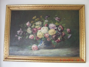 Floral oil painting by H. Lewis