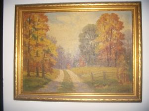Autumn on a path painting
