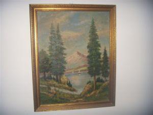 Mountain and sailboats