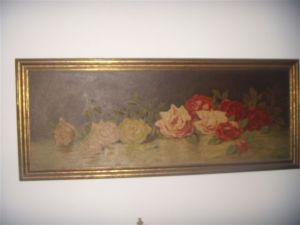 Wide painting of still life roses