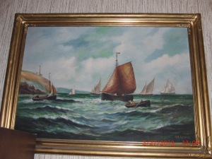 This painting of a choppy sea and sailing ships was a gift to my Uncle Jim and Aunt Ann from Jim's Grandfather Hubert Lewis