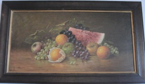 Still life fruit signed HR Lewis