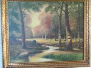 Woods with Sun Break signed H. R. Lewis