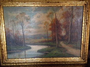 Landscape in oil signed H. Lewis